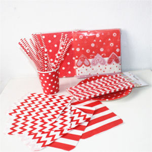 Colorful Paper Napkin Straw Bag with Different Designs for Party pictures & photos