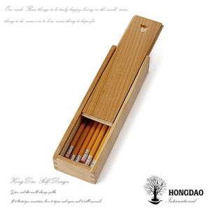 Hongdao Small Wooden Box Sliding Lid for Pencil Storage