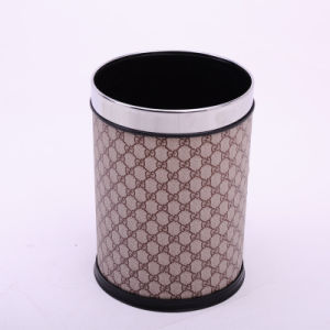 Open Top Leather Covered Grid Design Dustbin for Guestroom (A12-1903AL)