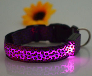 Factory Direct Selling Leopard Print USB Rechargeable LED Dog Collar