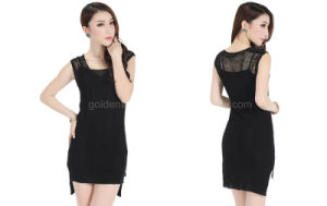 2015 Newest Popular Fashion Special Design Black Woven Summer One Piece Women′s Dress (60519103331)
