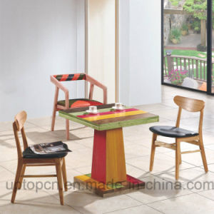 Modern Wooden Restaurant Furniture Set with Colorful Square Table (SP-CT690) pictures & photos