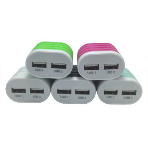 Mobile Accessories Dual USB Wall Charger with 7 Colors pictures & photos
