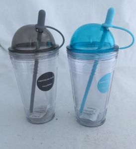 18oz Plastic Tumbler with Straw Double Wall pictures & photos