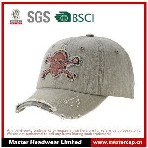 Interesting Applique Embroidery Destory Wash Cotton Baseball Cap