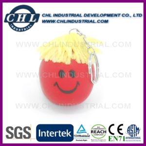 Factory Wholesale Customized Logo Printed Moody Face Ball Keychain pictures & photos