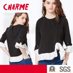 New Women Design, Pleated Chiffon Lace Knitting Top, Fashion Blouse pictures & photos