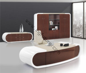 Round Corner Streamline Shape High Taste Wooden Office Furniture