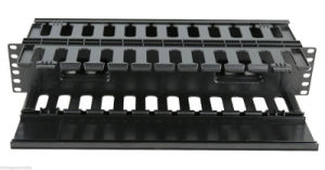 "2u 19"" Plastic Dual-Sided Rack Mount Horizontal Cable Manager pictures & photos"