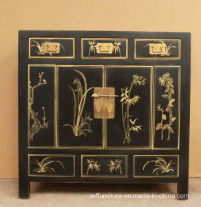Chinoiserie Hand Painted Furniture Wood Black Home Cabinet