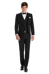 2015 Mens Slim Fashion Black Suit Jacket pictures & photos