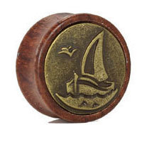 Nature Wood Carved Ship Plugs Double Flared