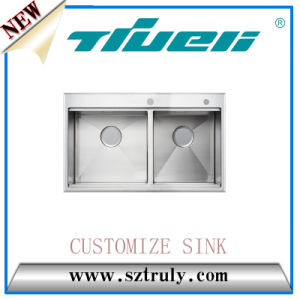 High Level Stainless Steel Sink with Faucet Hole