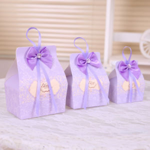 Purple Candy Boxes Party Favors Wedding Box Sweets Party Gift Bags W/Bow