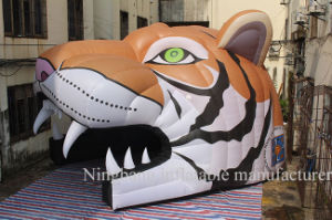 Advertising Cartoon Tunnel Inflatable Tiger Head for Outdoor