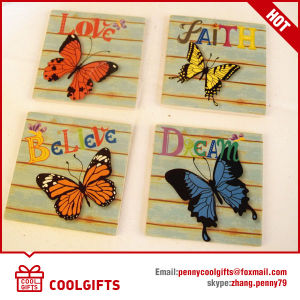 Square Ceramic Cork Cup Mat With Butterlfly Pattern for Gift pictures & photos