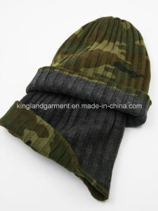 100% Acrylic Camouflage Reversible Knitted Hat pictures & photos