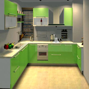 Green Glossy UV MDF Door Kitchen Cabinet