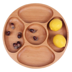 Round Five Grid Beech Wood No-Paint Tray Zakka Dessert Dish Fruit Plate pictures & photos