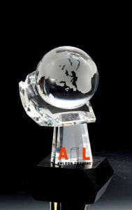 Crystal Trophy with Globe on Hand, China Crystal, K9 Crystal, Crystal Trophy