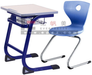 Hot Slale School Single Wooden Desk and Plastic Chair pictures & photos