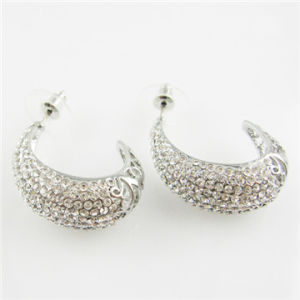 Silver Plating Alloy Half Moon Earring