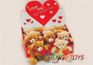 Valentine Plush Teddy Bear, Valentine Plush Bear W/Red Heart in Gift Box