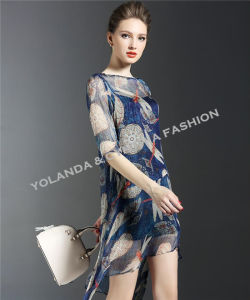 Irregular Style Silk Like Georgette Fashion Ladies Dress
