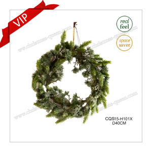 16′′ Artificial Plastic Wreath, Christmas Wreath White with Snow - Unlit