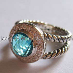Sterling Silver Blue CZ Jewelry Ring (SSR-045)