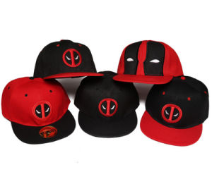 Hot Sale Deadpool Hip Hop Flat 6-Panel Baseball Hat with Embroidered