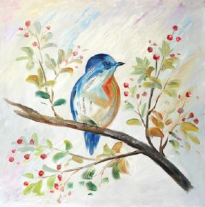 china new arrival colorful bird on the tree handmade oil painting