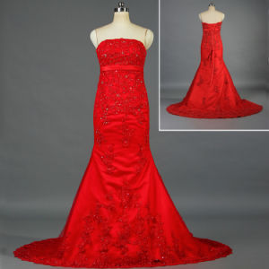 China Strapless Bead Lace Appliqued Satin Wedding Dresses Red