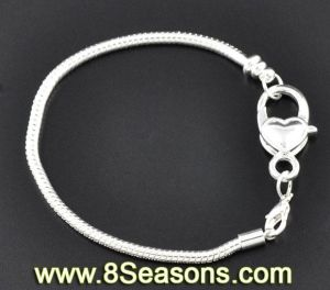 Silver Plated Heart Lobster Clasp Snake Chain Charm Bracelets Fit European Charm 20cm