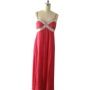 Ladies Fashion Evening Dress in Silk Ggt with Silk Satin