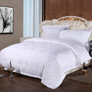 60s Egyptian Cotton Satin Jacquard White Hotel Bedding Set pictures & photos