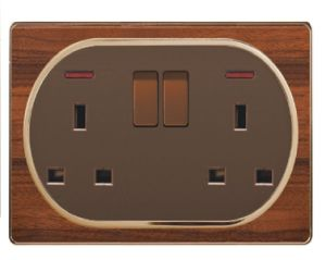 British Standard Wood-Textured Double 13A Square-Pinned Switched Socket with Neon