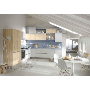 Home Small Kitchen White and Wood Grain Lacquer Kitchen Cabinets pictures & photos