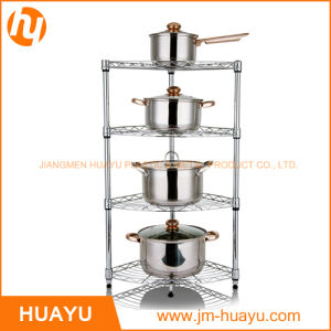 New Chrome 4 Tier Corner Rack Display Shelving Rack Wire Shelving