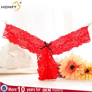 Pure Sexy Lace Underwear Female Bow Waisted Seamless Underwear Temptation Thong Transparent T Pants pictures & photos