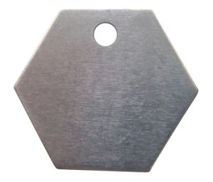 "Hexagon Blank Aluminum Tag with a Hole, 1 1/4"" (20Y566)"