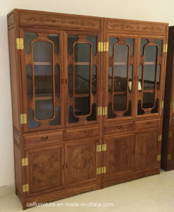 Wood Rosewood Living Room Display Glass Cabinet