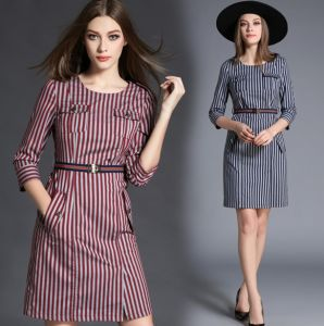 China Cotton Casual Lady Clothes Women Designer Denim Dress Striped Round Collar Fashion Casual Dress Elegant Woman Sexy Jeans Long Dress Girl Party Dress