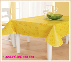 PVC Printed Tablecloth with Flannel Backing (TJ0248) pictures & photos