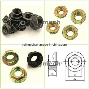 DIN6923 Color Zinc/Black Zinc/Nickel Plated Carbon Steel Hex Flange Nut for Fasteners pictures & photos