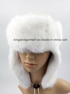 59025d022 Lambskin & Rabbit Fur White Ushanka Winter Hat with Ear Flap