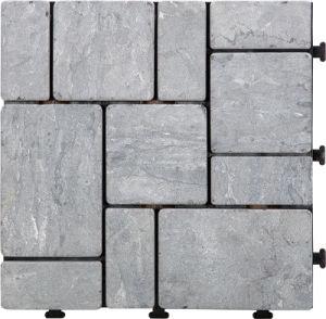 Outdoor Interlocking Flooring Natural Stone DIY Travertine Slab Mosaic Garden  Tile With PE Base