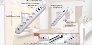 6 Outlets Power Strip, Power Socket with USB Charge, Foot-Switch (GGFPBKS06) pictures & photos