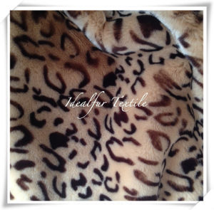 Brown and Beige Leopard Printed Faux Fur pictures & photos
