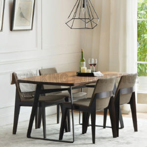 Square Wooden Restaurant Furniture Metal Dining Table (NK-DTB082)